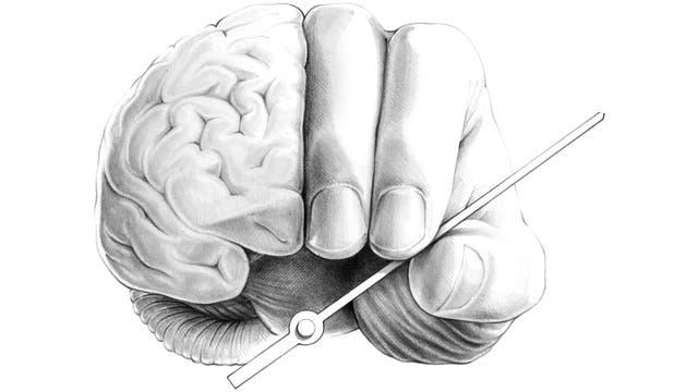 Gehirn und Finger, die einen Uhrzeiger halten