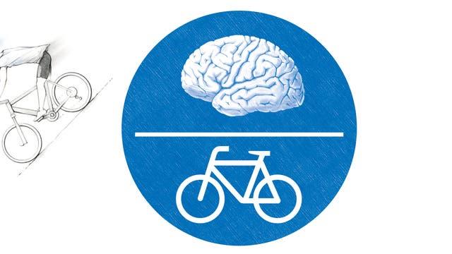 Ein Schild mit Symbolen für Fahrrad und Gehirn.