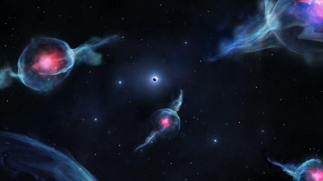 Schwarzes Loch und rätselhafte G-Gebilde (künstlerische Darstellung)