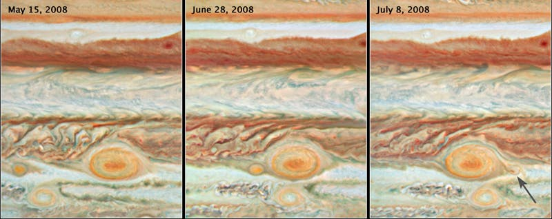 Großer Roter Fleck verschlingt Wirbelsturm auf Jupiter