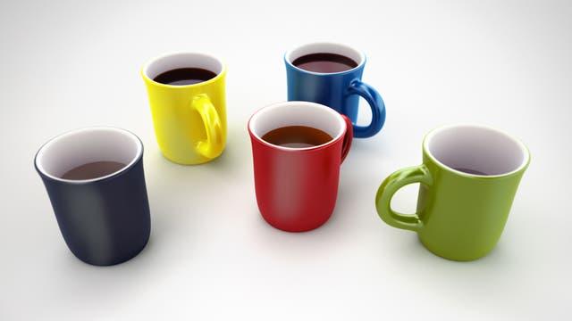 mehrere Kaffeetassen auf einem Tisch