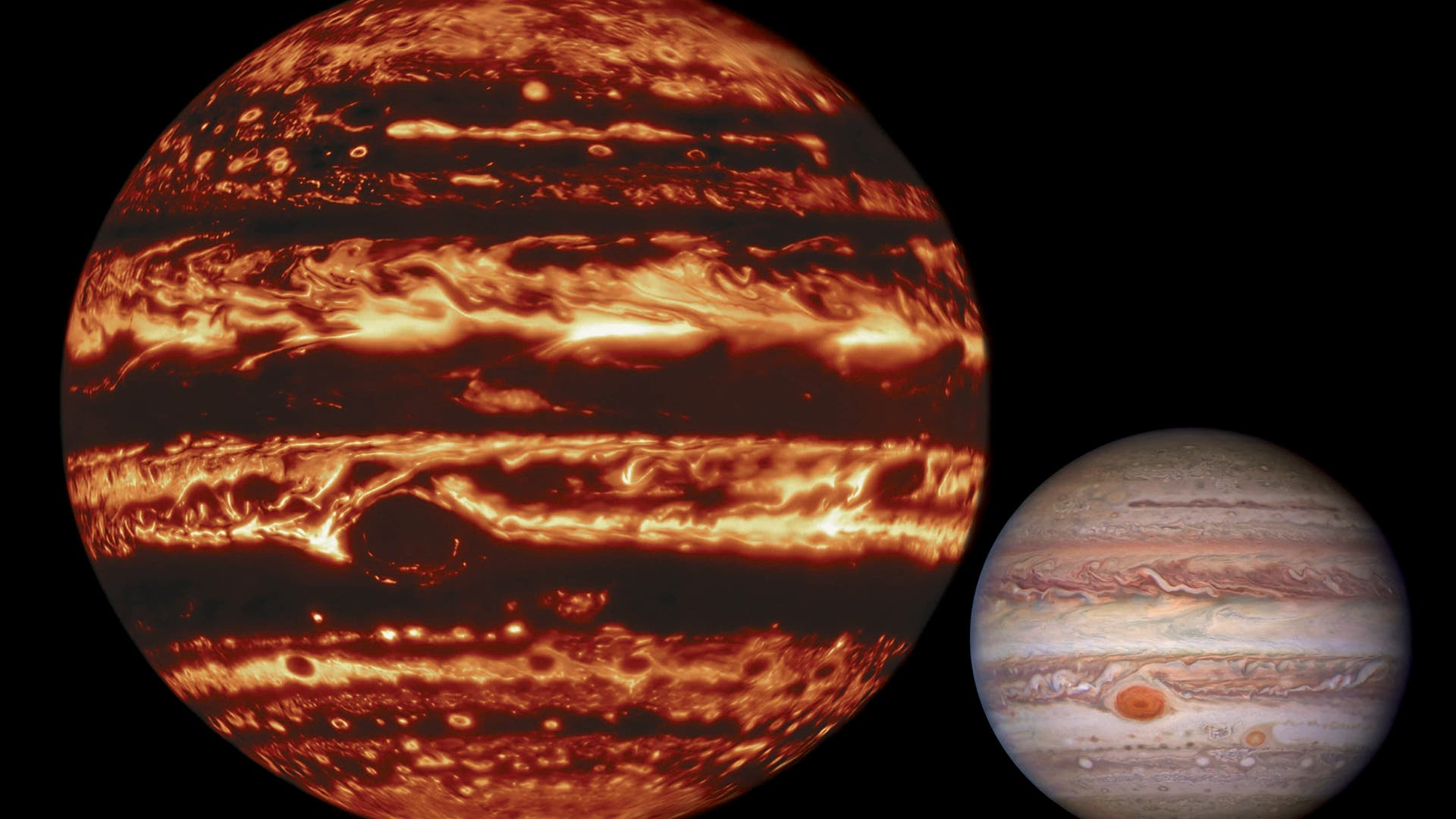 Stürmischer Jupiter im Infraroten und im sichtbaren Licht