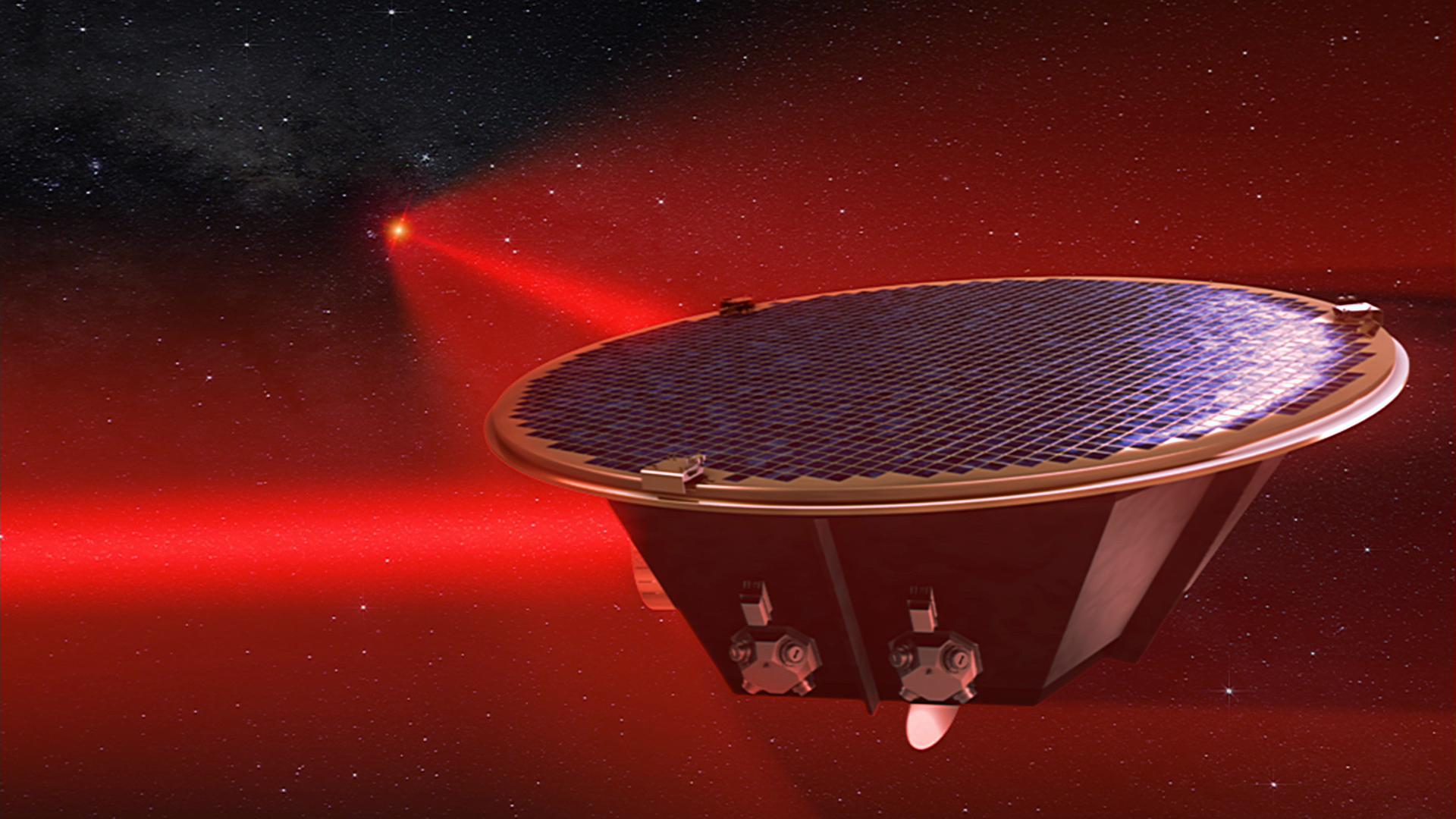 Ein Satellit der LISA-Mission (künstlerische Darstellung)