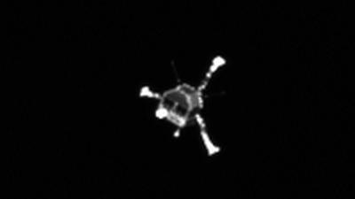 Die Landesonde Philae auf dem Weg zum Kometenkern