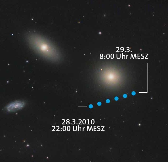 Asteroid (21) Lutetia passiert die Galaxie Messier 105