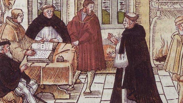 Bereits 1518 war Martin Luther auf dem Reichstag in Augsburg von einem Abgesandten des  Papstes, Kardinal Cajetan, verhört und zum Widerruf aufgefordert worden.