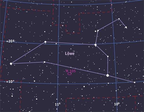 Die elliptische Galaxie Messier 105 im Sternbild Löwe