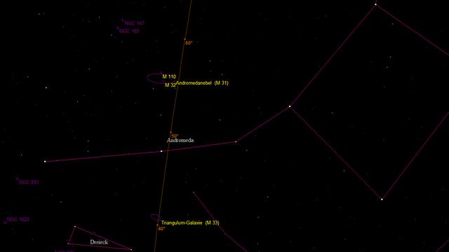 Übersichtskarte der Andromeda mit Messier 31, Messier 33 und NGC 891