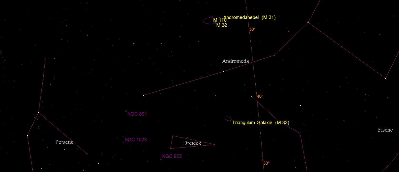 Aufsuchkarte für die Galaxie Messier 33