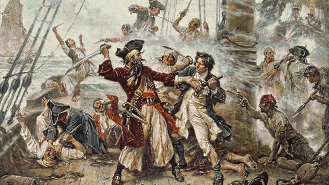 Blackbeards letzter Kampf - Gemälde von Jean Leon Gerome Ferris (1863-1930)
