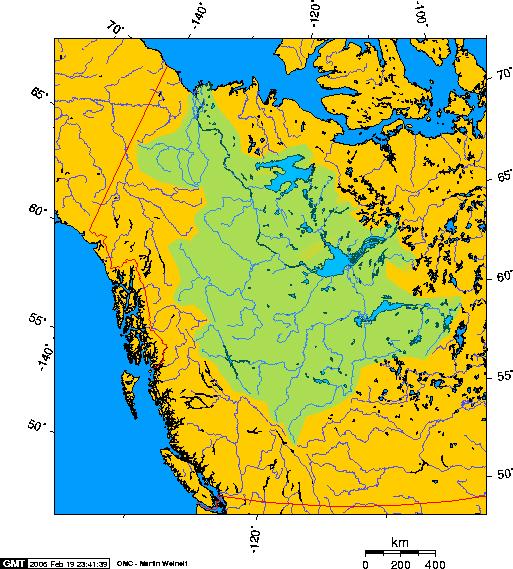 Eine geografische Karte des Mackenzie-Einzugsgebiets