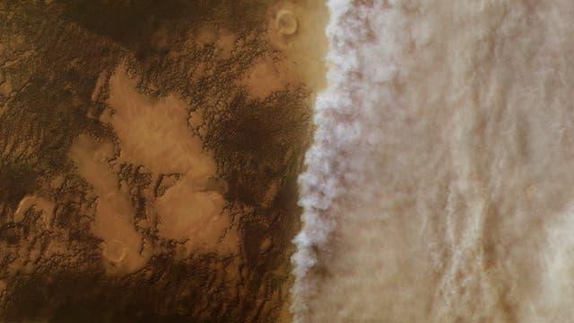 Ein Staubsturm auf der Mars-Nordhalbkugel
