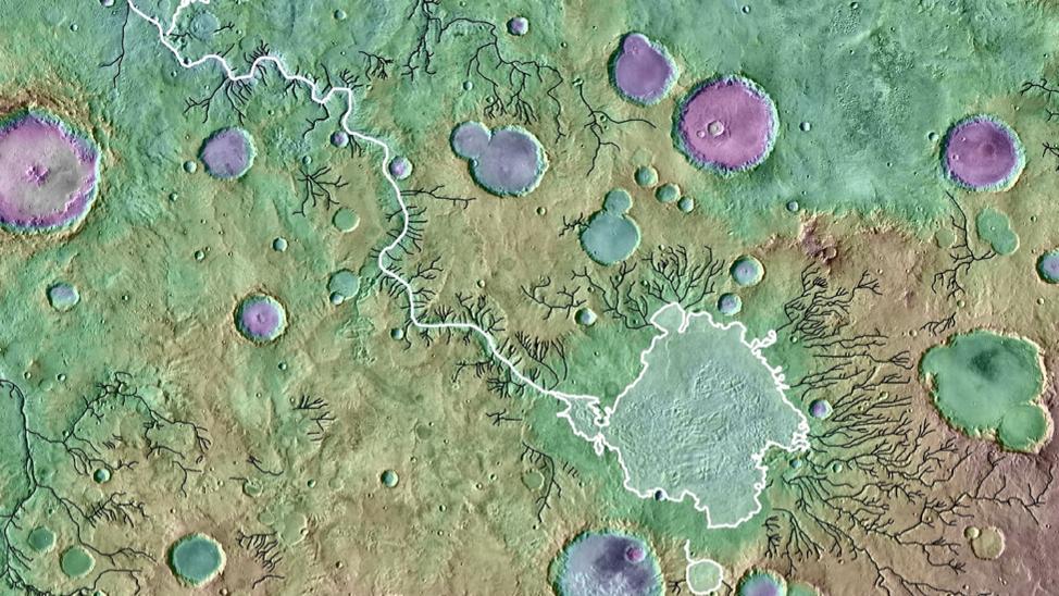Eine topografische Aufnahme zeigt Flusstäler auf dem Planeten Mars. Massive Überschwemmungen aus überlaufenden Kraterseen haben die Marsoberfläche mitgestaltet.