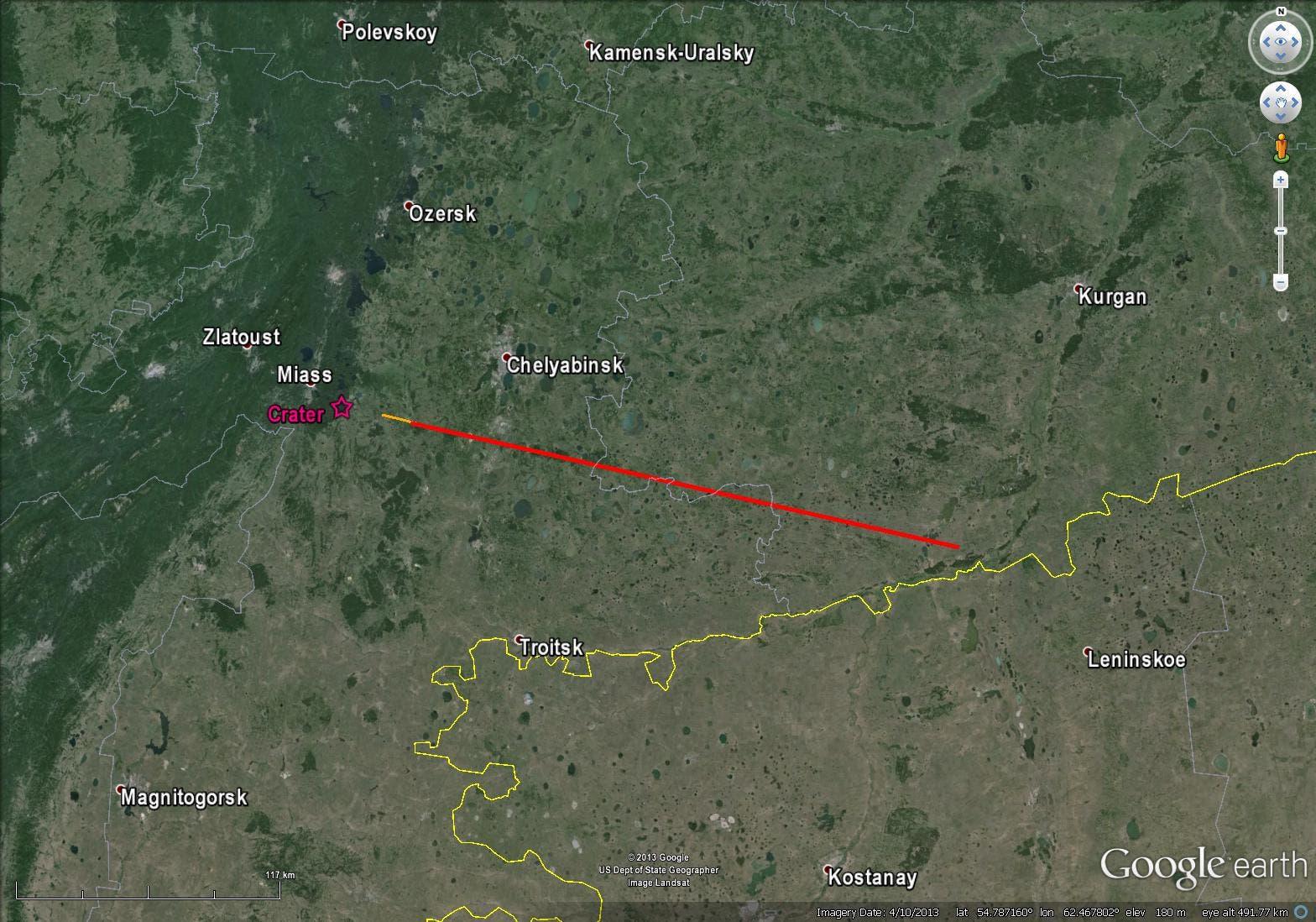 Die Flugbahn des Boliden von Tscheljabinsk (Karte)