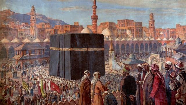 Die Hadsch in Mekka in einer Darstellung um 1900