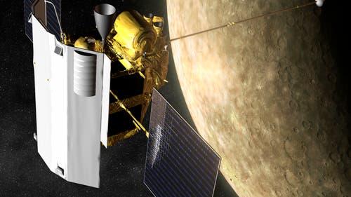 Raumsonde Messenger beim Merkurvorbeiflug