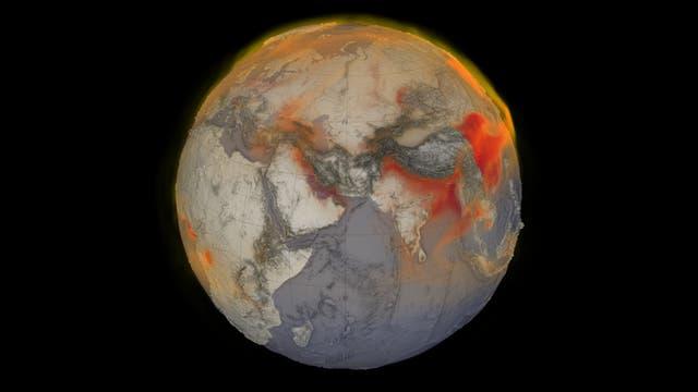 Eine Visualisierung des globalen Methans am 26. Januar 2018. Rot zeigt Gebiete mit höheren Methankonzentrationen in der Atmosphäre.