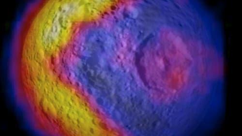 Temperaturkarte des Saturnmonds Mimas