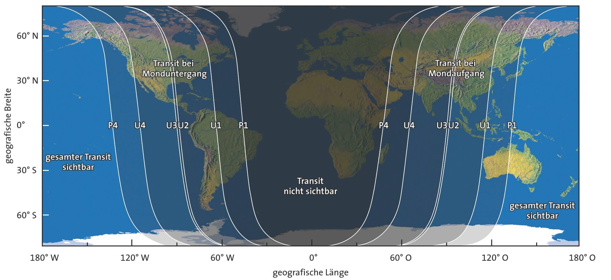 Die Sichtbarkeit der totalen Mondfinsternis vom 4. April 2015 (Übersichtskarte)