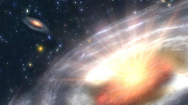 Illustration eines aktiven Galaxienkerns