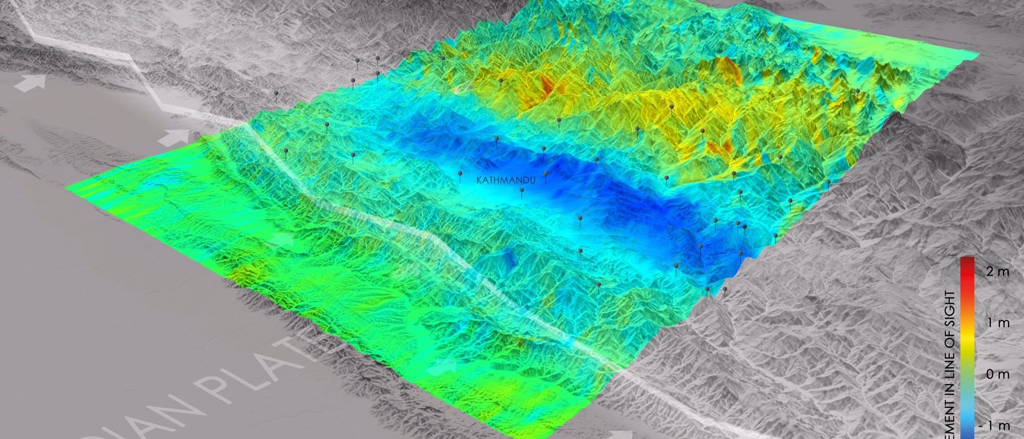 Wie stark haben sich Teile Nepals gehoben oder gesenkt?