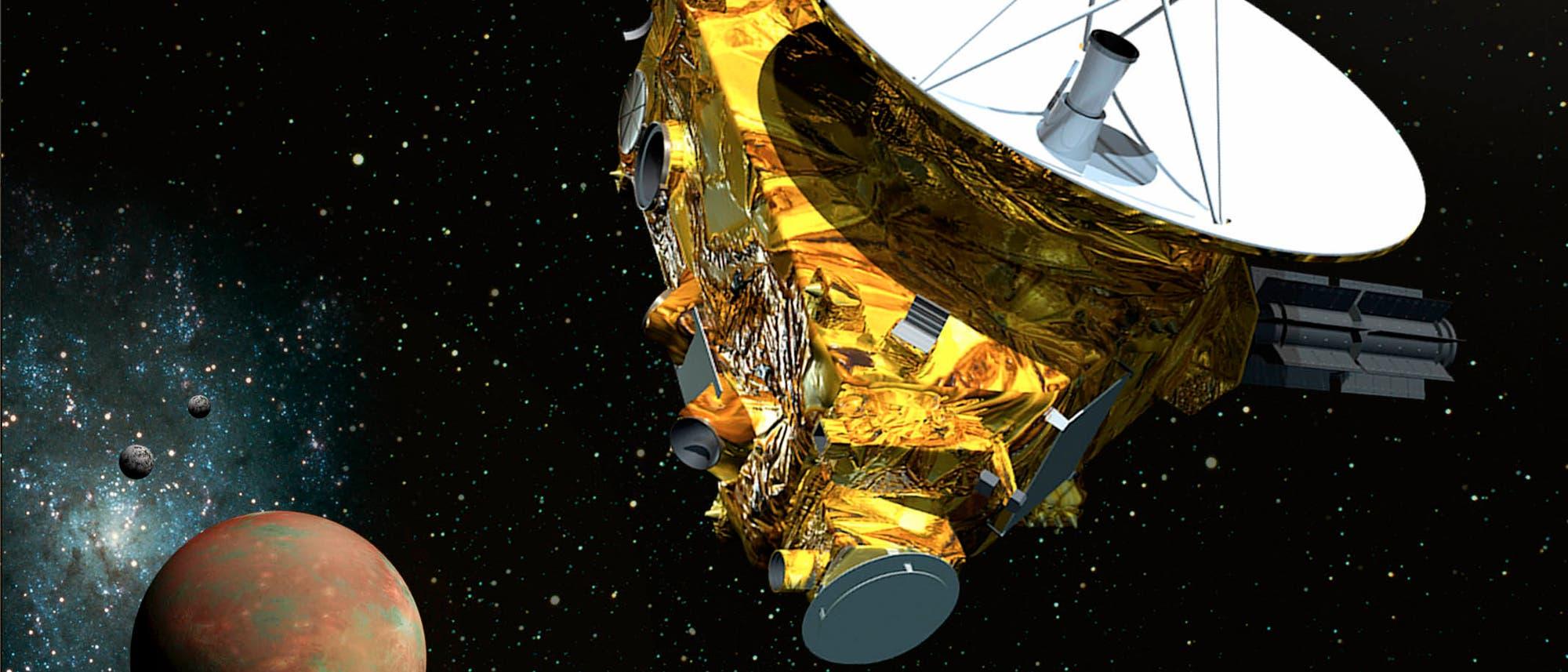 Künstlerische Darstellung der Sonde New Horizon vor Pluto