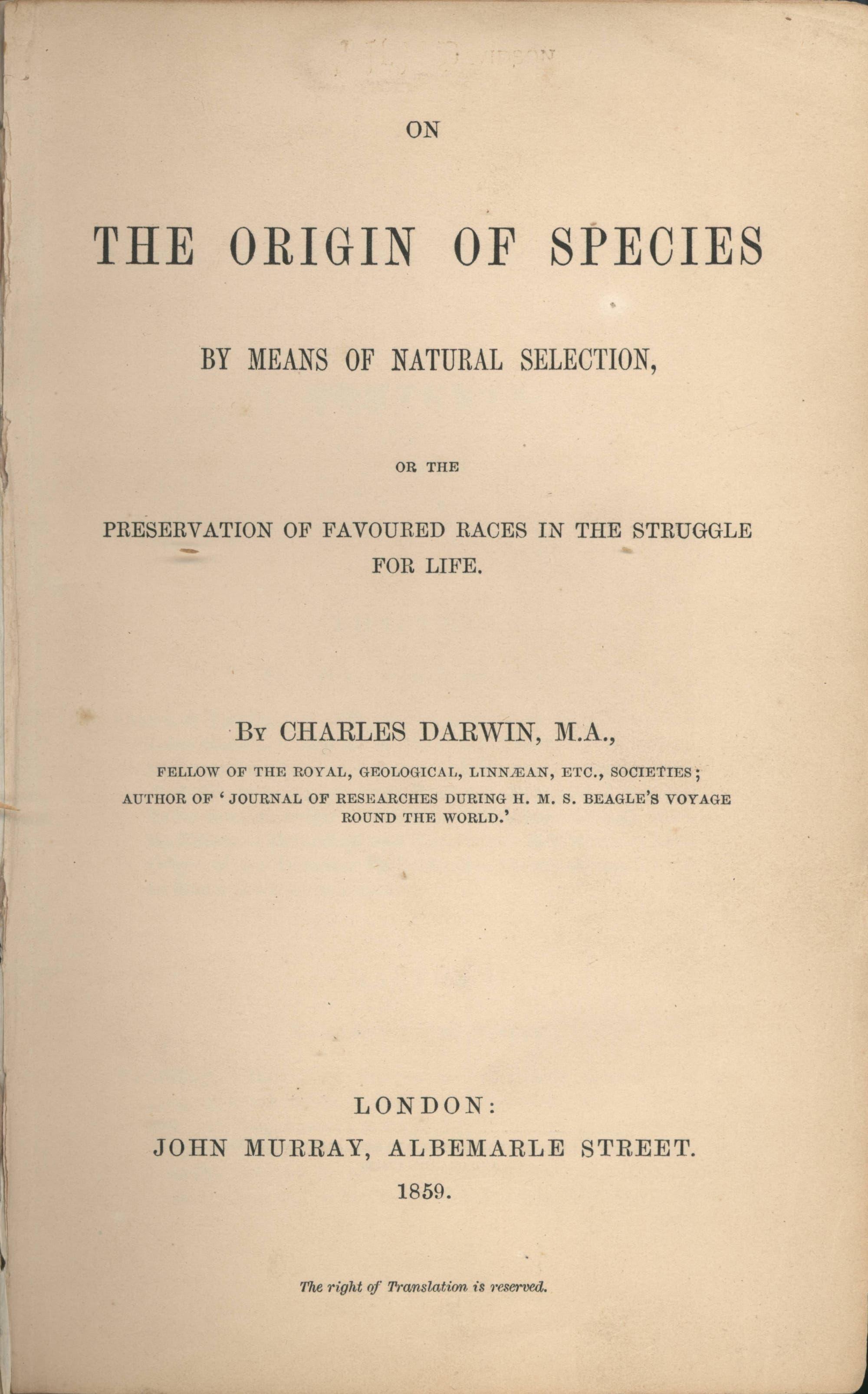"Titelblatt von ""On the Origin of Species"""