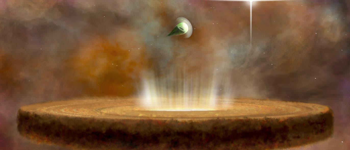 Protoplanetare Scheiben im Orionnebel (künstlerische Darstellung)