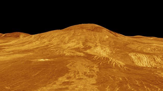 Computerdarstellung der Venus-Oberfläche in einem kleidsamen Orange.