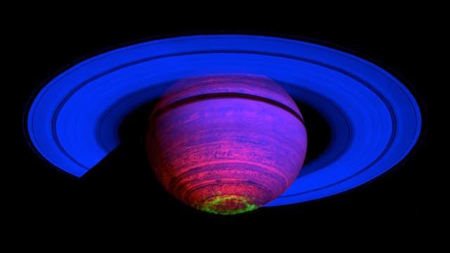 Falschfarbenkomposit der Saturn-Atmosphäre