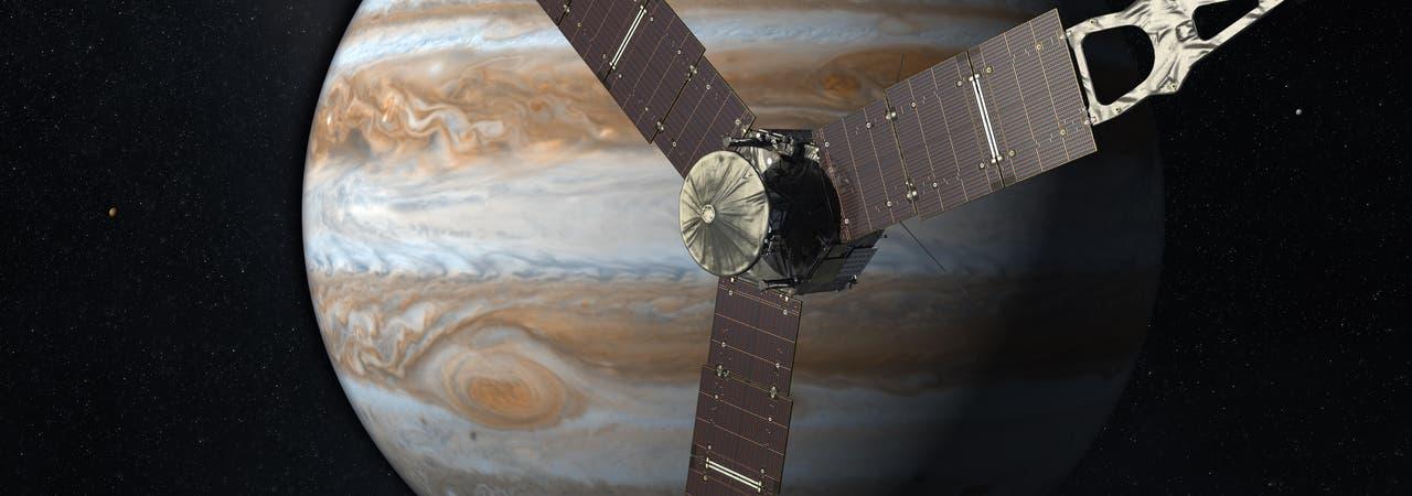 Raumsonde Juno umrundet Jupiter (künstlerische Darstellung)