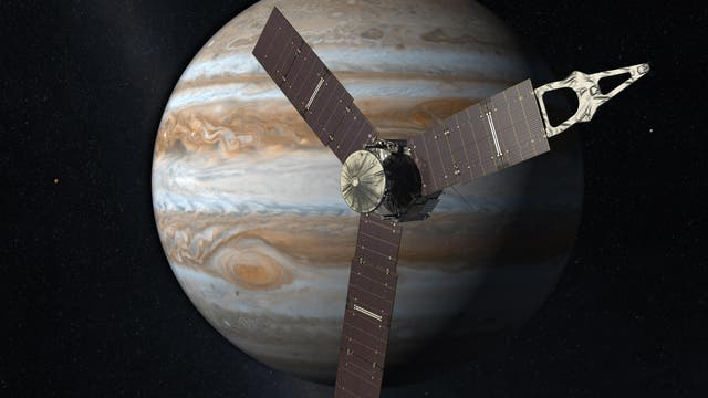 Künstlerische Darstellung der Sonde Juno vor dem Jupiter