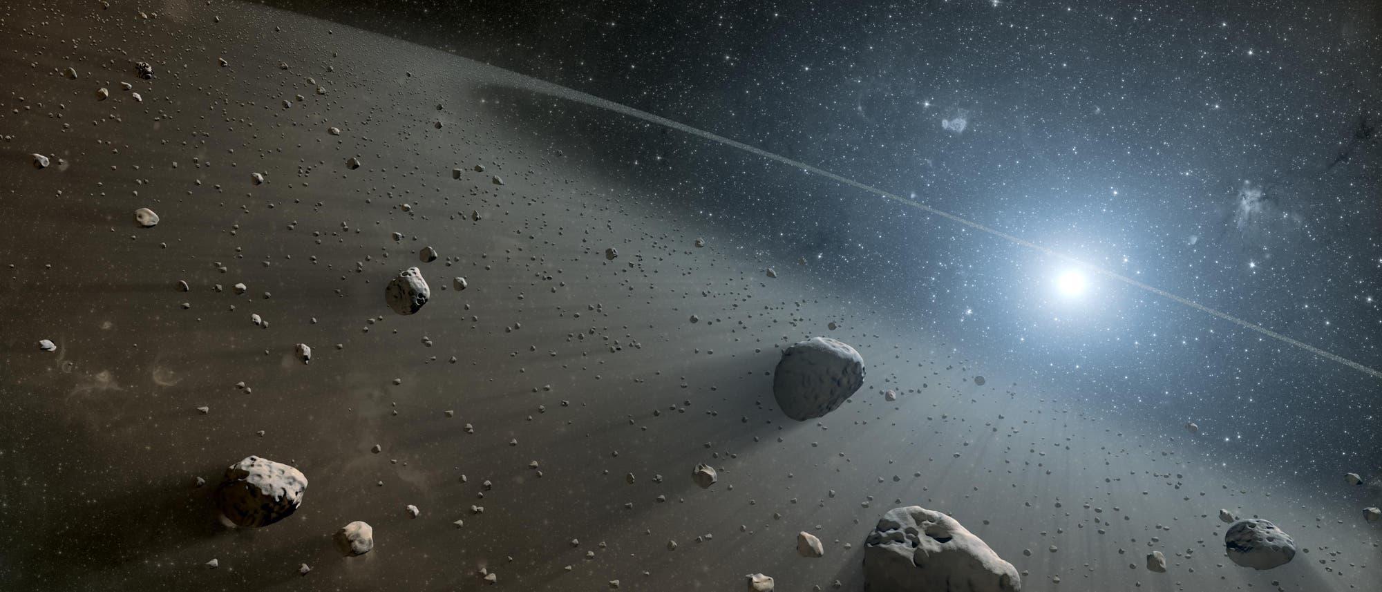 Künstlerische Darstellung eines Asteroidengürtels