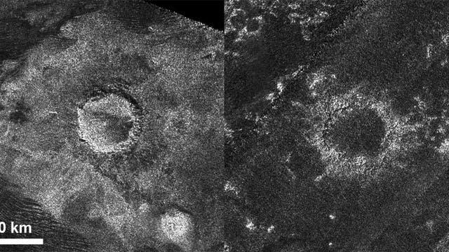 Radarbilder von zwei Einschlagkratern auf dem Saturnmond Titan