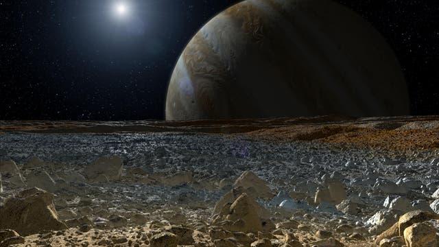 Auf der Oberfläche des Jupitermonds Europa (künstlerische Darstellung)