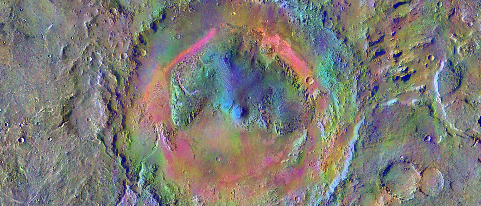Der Krater Gale auf dem Mars. Der Marsrover Curiosity ist im Jahr 2012 in diesem Krater gelandet.