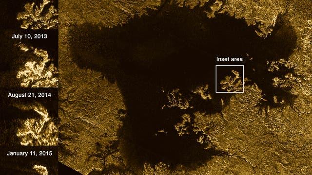 Übersichtsaufnahme von Ligeiea Mare auf Titan (Radarbild)