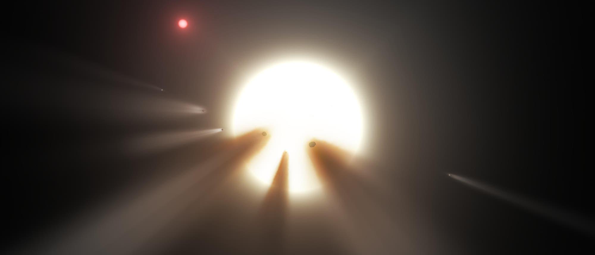 Kometen und andere Himmelskörper können einen Stern kurzzeitig verdunkeln, wie in dieser künstlerischen Darstellung.