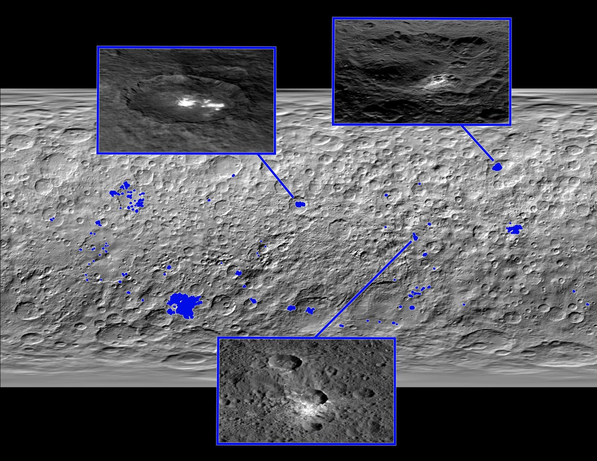 Die globale Verteilung der hellen Flecken auf Ceres (Übersichtskarte)