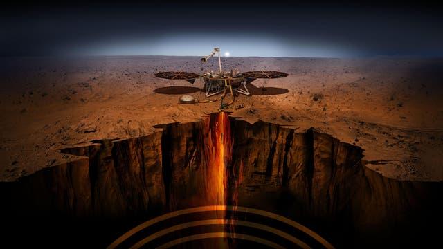 Die künstlerische Darstellung zeigt, wie der Marslander InSight das Innere des Roten Planeten vermisst.