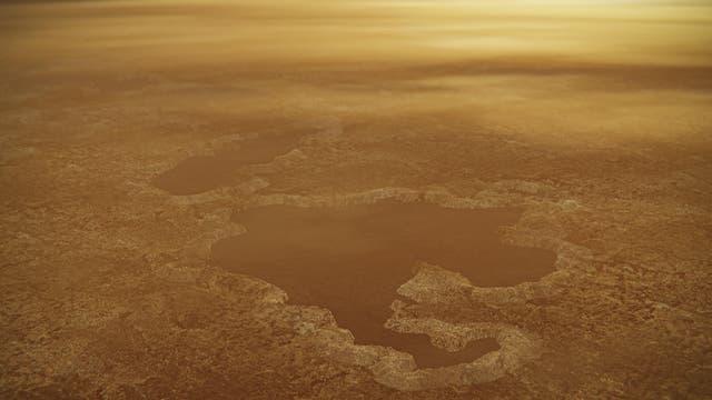 Künstlerische Darstellung der Seen an Titans Nordpol