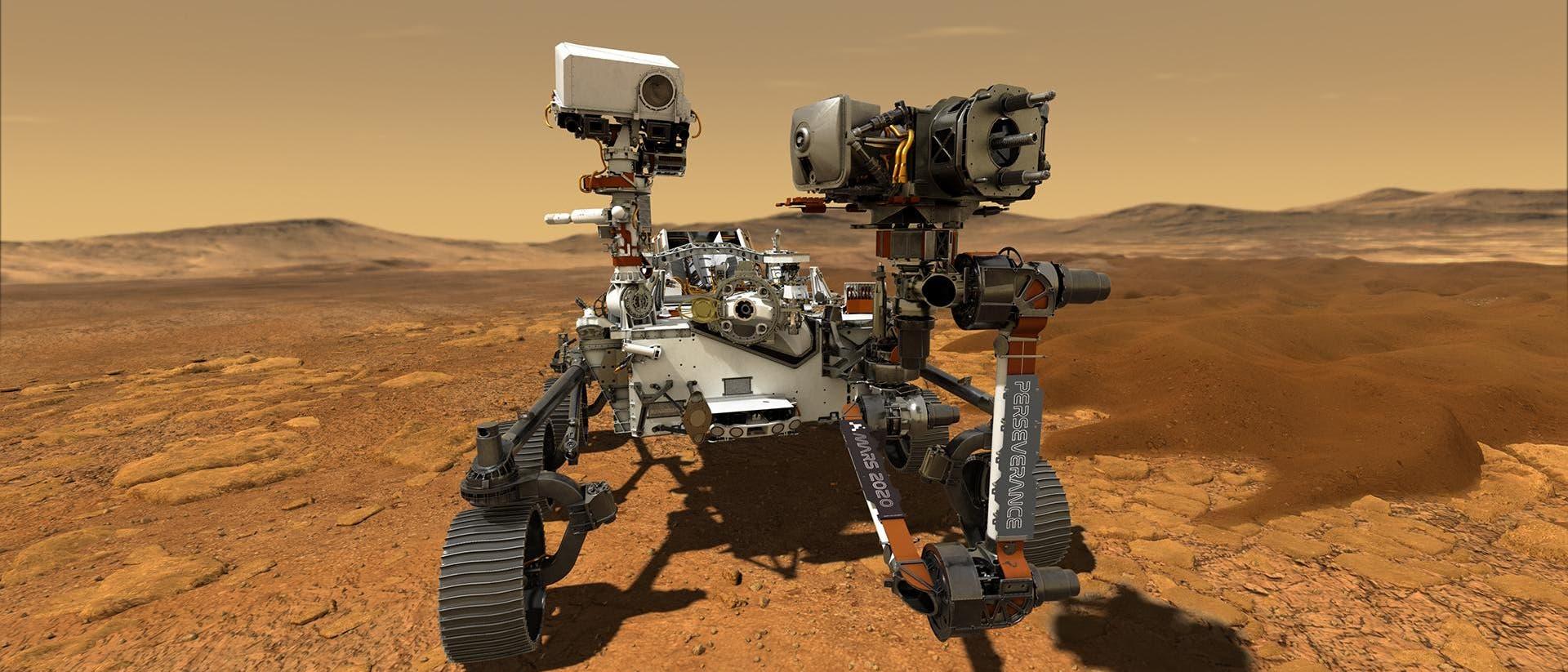 Künstlerische Darstellung des Rovers Perseverance auf dem Mars. Ein Robotergefährt in rötlicher Wüste unter orangefarbenem Himmel.
