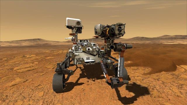 Künstlerische Darstellung des Rovers Perseverance auf dem Mars