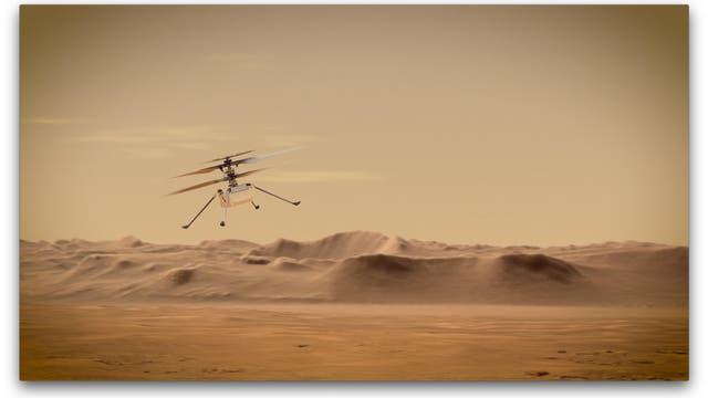 Künstlerische Darstellung des Mars-Helikopters Ingenuity