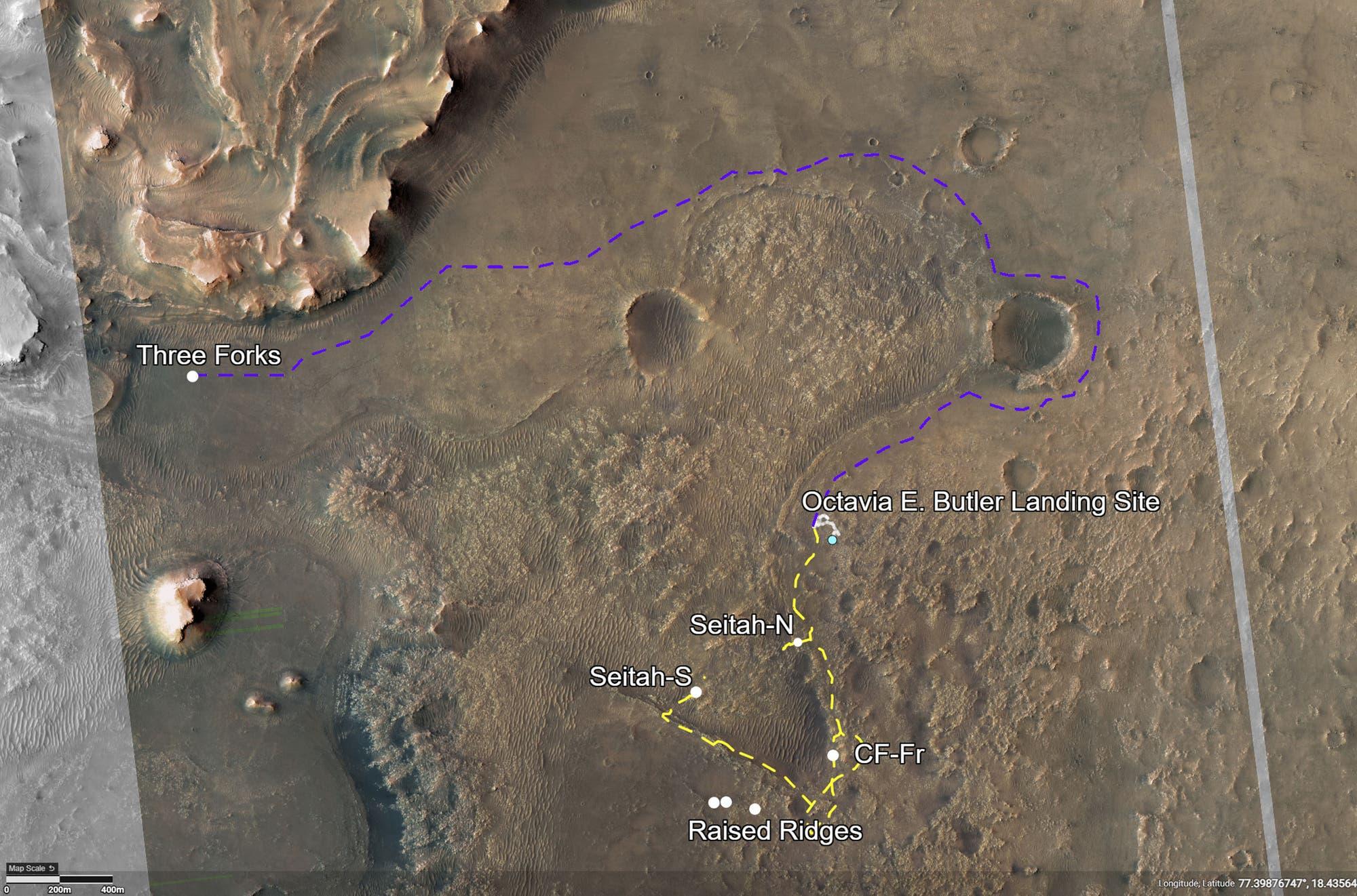 Fahrt von Perseverance im Jezero-Krater
