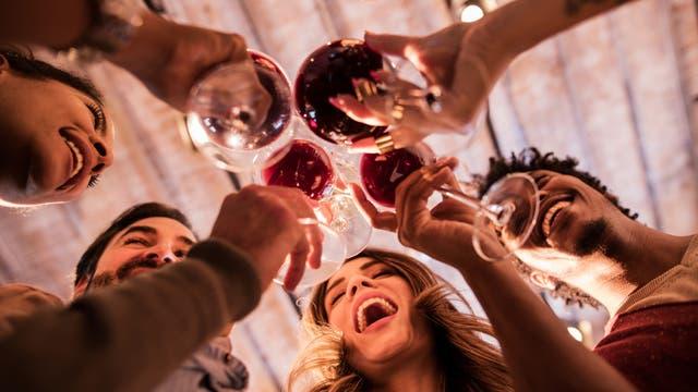 Eine bunt gemischte Gruppe trinkt fröhlich Rotwein