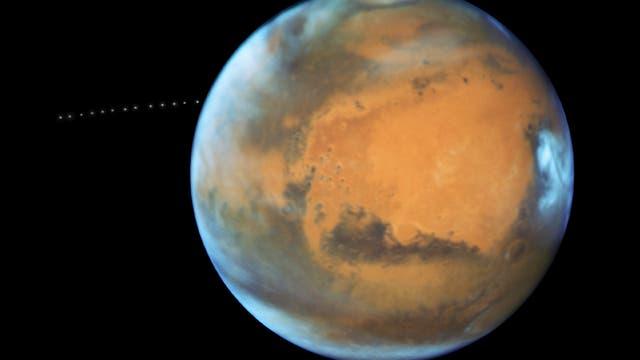 Mars mit Mond Phobos (HST-Aufnahme)