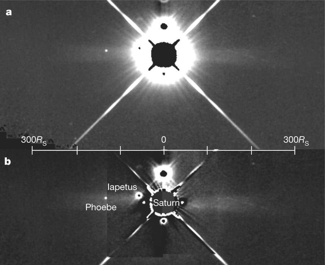 Der Phoebe-Ring um Saturn (Aufnahme des Weltraumteleskops WISE)