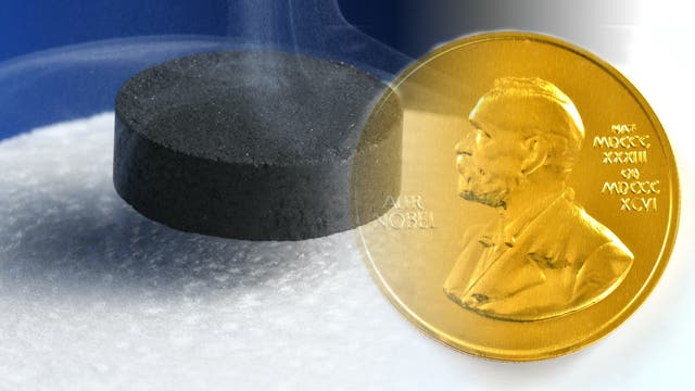 schwebender Magnet kombiniert mit Nobel-Medaille