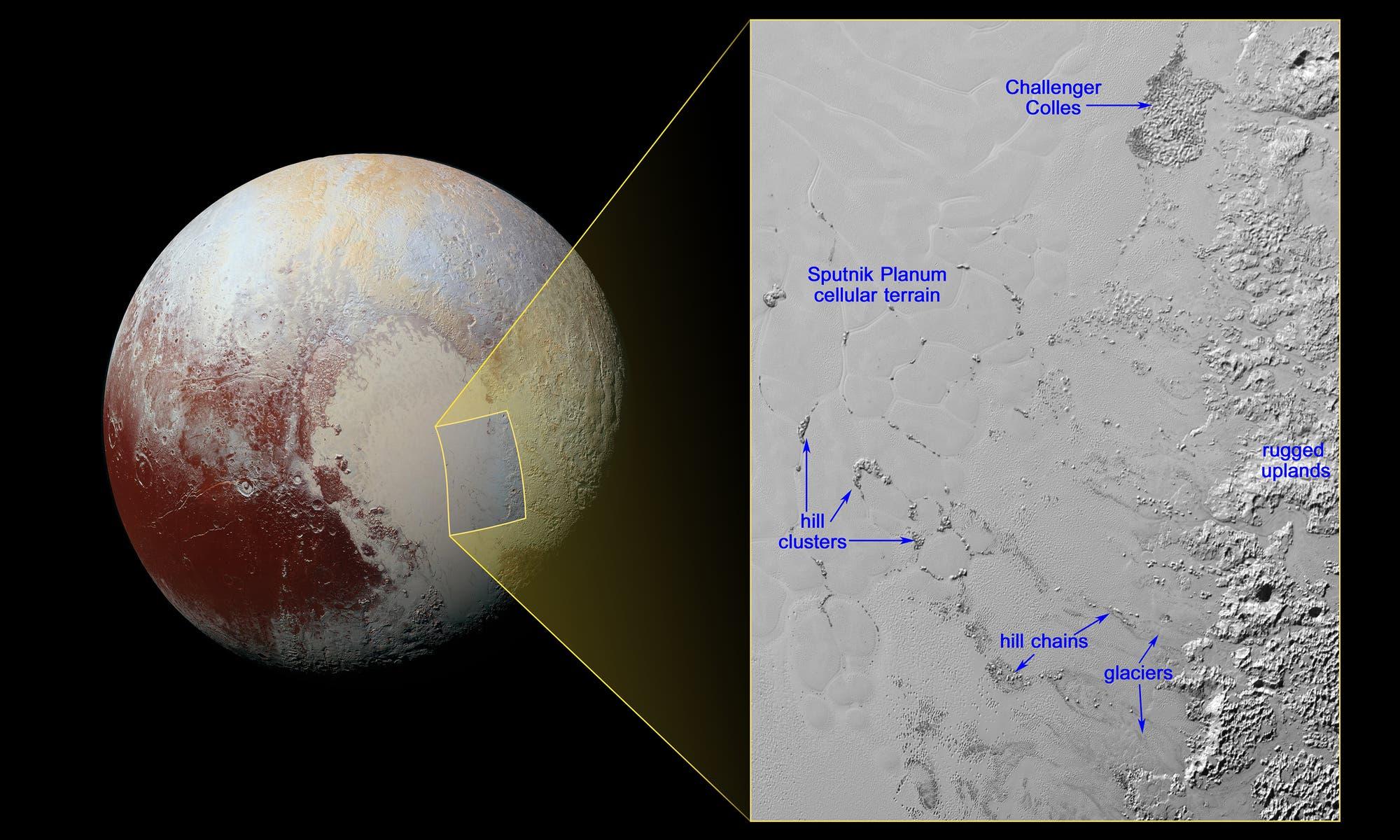 Eisbrocken auf der Wanderschaft in Sputnik Planum